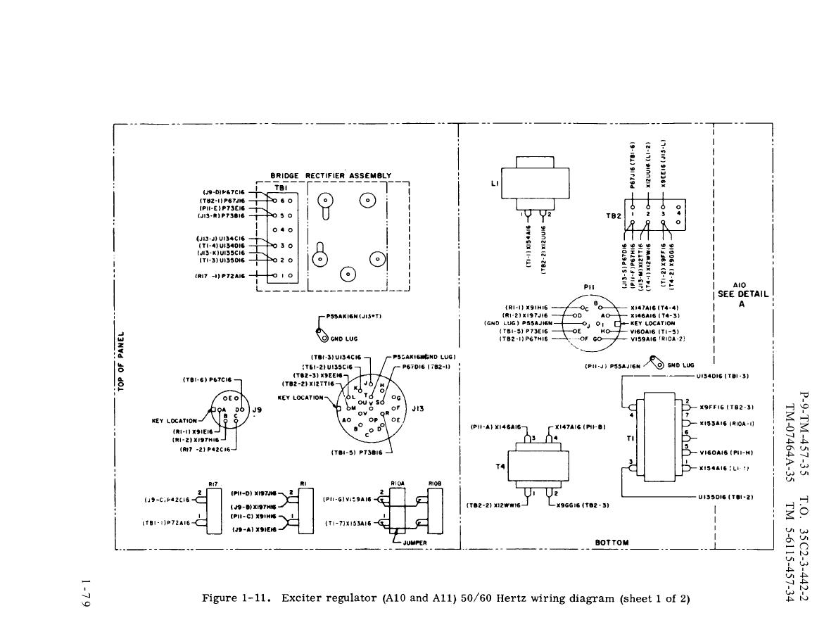 Figure 1 11 Exciter Regulator A10 And A11 50 60 Hertz Wiring Mtd Diagram Tm 5 6115 457 34 Generator Set Diesel Engine Driven Tactical Skid 100 Kw 3 Phase 4 Wire 120 208 240 416 Volts Manual Page Navigation