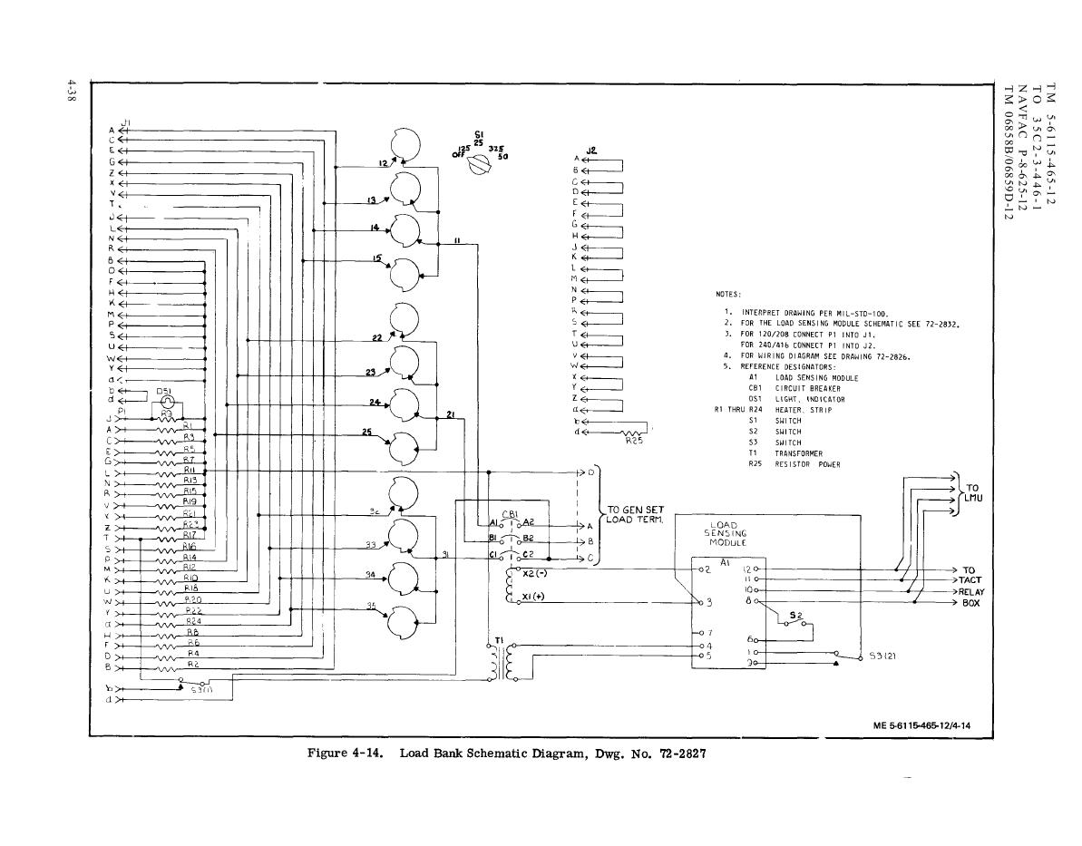 Load Bank Wiring Diagram, Dwg. No. 72-2827