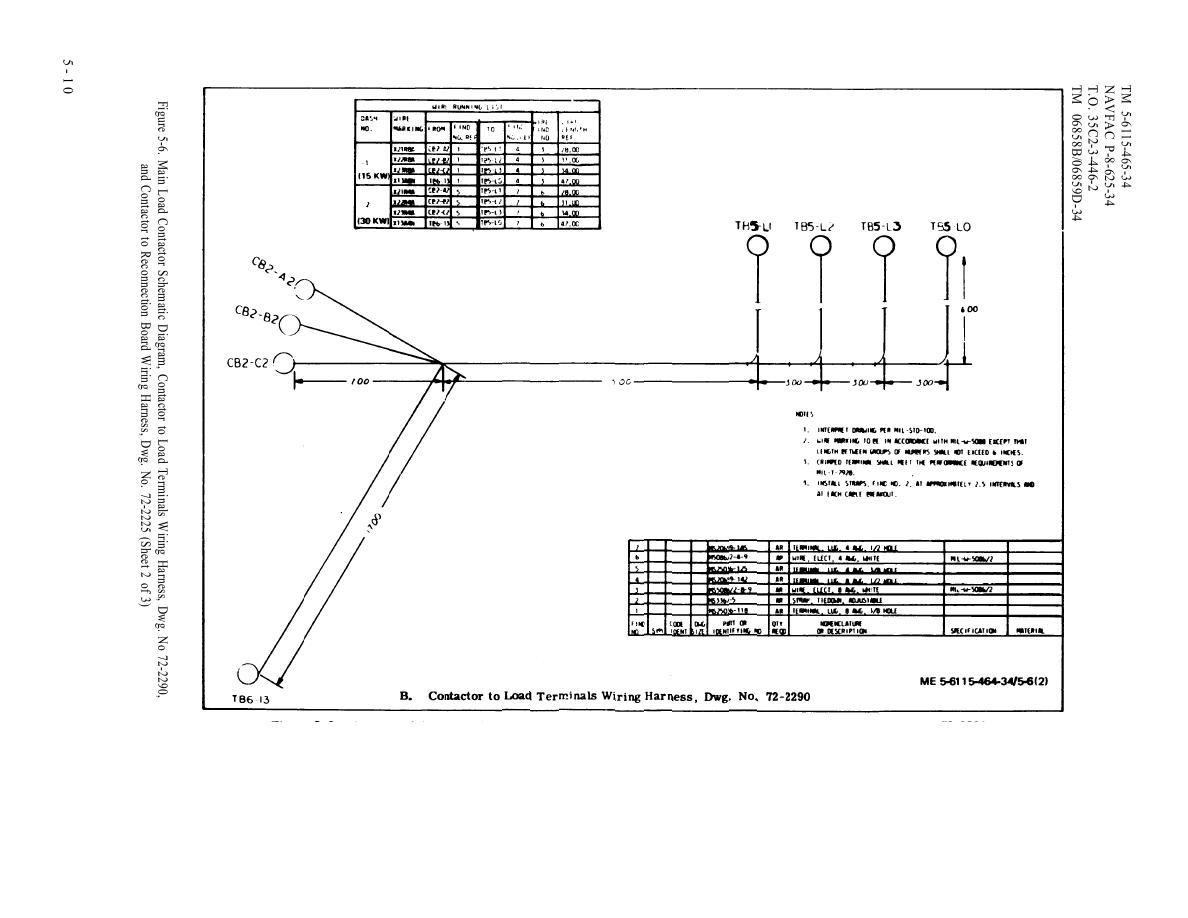 main load contactor schematic diagram, contactor to load terminals wiring  harness (cont) - tm-5-6115-465-340242