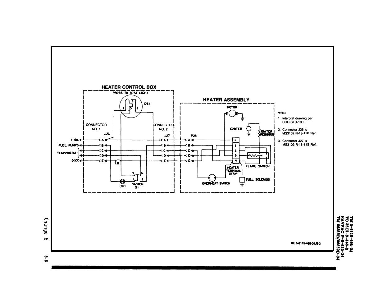 figure 8 2 fuel burning heater assembly wiring diagram drawing no 72 2863
