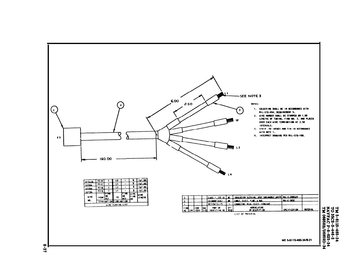 TM 5 6115 465 340383im figure 8 21 load bank power wiring harness, drawing no 72 2829 wire harness drawing at fashall.co