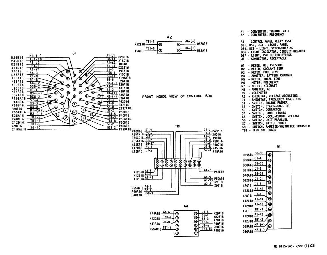 TM 5 6115 545 12_185_1 figure 3 20 control cubicle wiring diagram (sheet 1 of 2) cubicle wiring diagram at sewacar.co