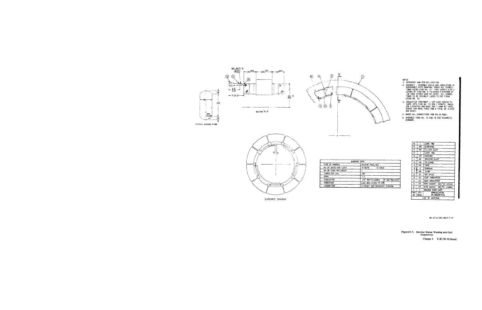 Figure 9 7 Exciter Rotor Winding And Coil Connection 3 Phase 4 Wire Diagram 120 208 Tm 5 6115 545 34 Generator Set Diesel Engine Driven Tactical Skid Mtd 30 Kw 240 416 Volts Manual Page Navigation