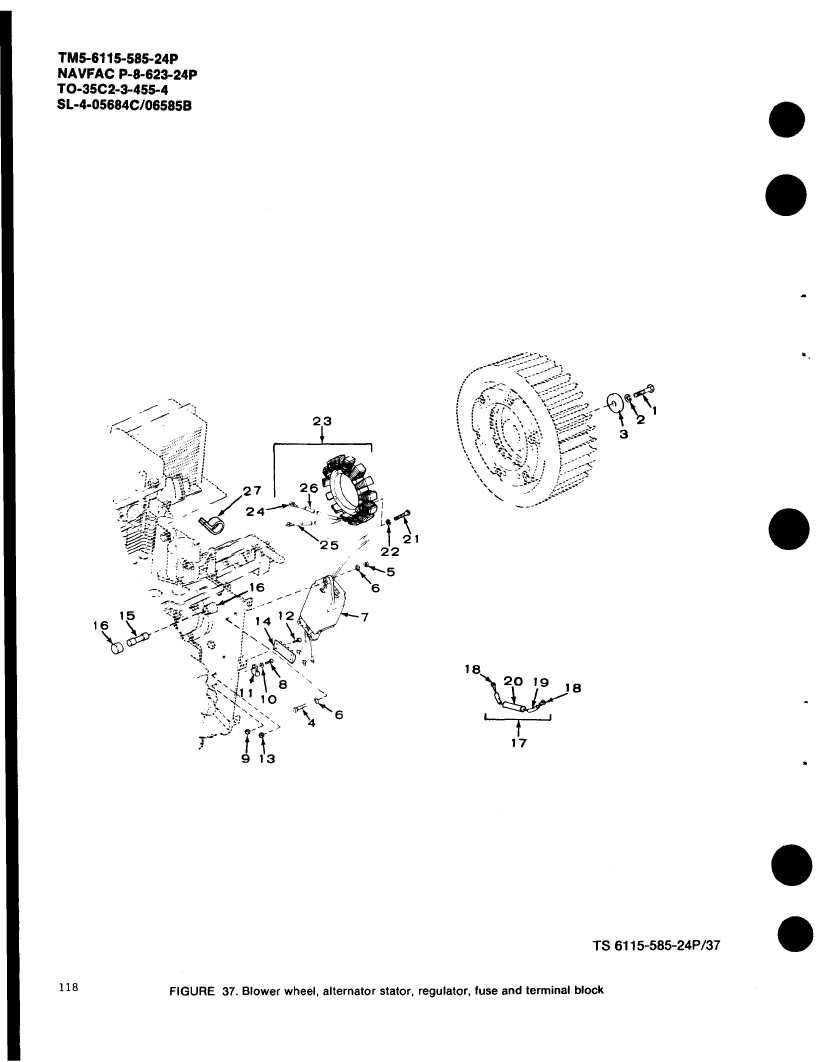 Figure 37 Blower Wheel Alternator Stator Regulator