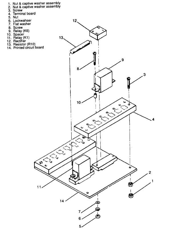 Figure 357 Control Cubicle Relay Assembly Exploded View