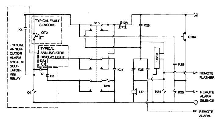 Figure 10-1. Annunciator Alarm System, Simplified Schematic ... on power window relay diagram, tamper switch wiring diagram, power wiring diagram, car alarm wiring diagram, 4 wire relay diagram, relay configuration diagram, color wiring diagram, relay connection diagram, dimensions wiring diagram, key wiring diagram, control wiring diagram, car relay diagram, fuse wiring diagram, transformer wiring diagram, alarm system wiring diagram, battery wiring diagram, alarm panel wiring diagram, 11 pin relay diagram, sensor wiring diagram, range wiring diagram,